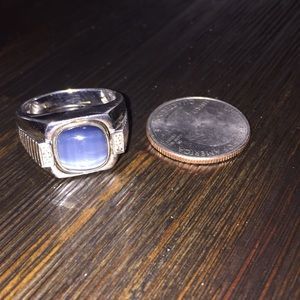 Diamond/silver sodalite cateye Vintage ring(sz 10)